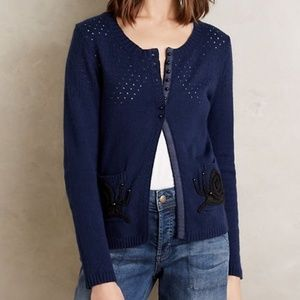 Anthropologie MOTH Snail Embroidered Cardigan